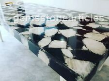 5'x3' White & Black Agate Handmade Natural Stone Dining Table Top Decoration Art