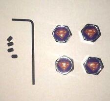 Chrome Valve Caps -  Superman Logo, With Locking Screws Set of 4 NEW