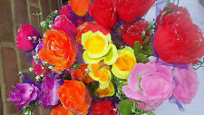 État de 36 mixte couleur rose soie fleur artificielle bouquets wholesale lot 15