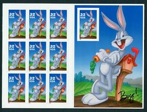 US SCOTT# 3137 BUGS BUNNY WITH BUGS' SIGNATURE FULL SHEET OF 9 MNH AS SHOWN