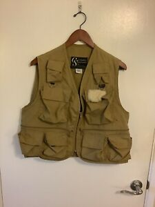 Columbia Sportswear Vintage Fly Fishing Vest Khaki Men's Medium 1970's Clean