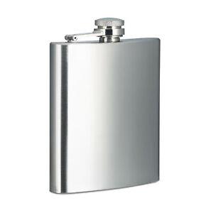 3-tlg Flachmann Set Edelstahl Silber-farbig gebürstet mit Becher Taschenflasche