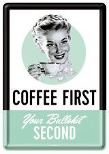 Retro Tin Metal Postcard COFFEE FIRST Your Bullshit Second 10x14cm 1950's Image