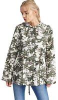 Ladies Camo Print polyester Hooded Showerpoof Fishtail Mac Rain Coat Jackets