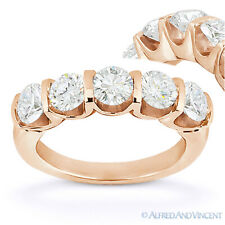 Round Cut Moissanite 14k Rose Gold 5-Stone U-Prong Anniversary Ring Wedding Band