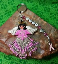 PERSONALIZED Breast Cancer Awareness  - ANGEL Key ring Pink BRUNETTE