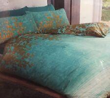Double Duvet Set Reversible Ombré Teal Green Blue Gold Leaves Cotton Rich NEW