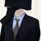 BRIONI Wilkes Bashford 2 Button Navy Blue White Striped Suit  38 /48 Pant 32