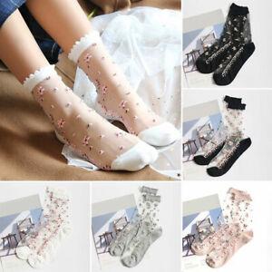 Women's Elastic Summer Floral Transparent Thin Cotton Socks Non-slip Sheer