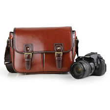 Retro Waterproof Vintage PU Leather DSLR Camera Bag Padding Bag For Canon Nikon