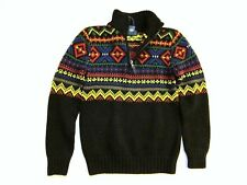 New Polo Ralph Lauren Boys Intarsia Half Zip Sweater 18 20 Mens XS S Pima Cotton