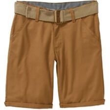 Beverly Hills Polo Club Boys' Belted Roll-Up Flat Front Shorts with Woven Detail
