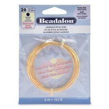 20 Gauge Gold Silver Plate Beadalon Round German Craft Wire (19.7ft Coil)
