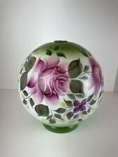 Vintage Hand Painted Roses Floral Glass Globe Round Lamp Shade GWTW Bottom