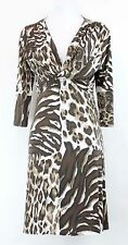 Cartise Sz 6 NWT $189 Brown Taupe White Animal 3/4 Sleeve Slinky Dress *132