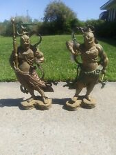 """20""""Antique Bronze Hum And Haw Two Sky General immortal God Statue Pair"""