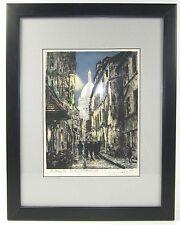 Original JACQUES MAURICE Signed Etching Paris France Montmartre La Rue Rustique