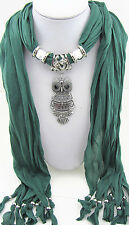 NEW fashion jewelry Owl pendant necklace scarf charms scarves shawl M17