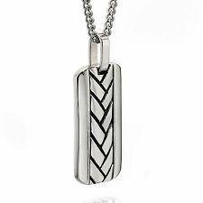 Fred Bennett stainless steel plaited design dog tag pendant on 60cm chain
