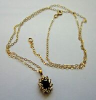 "A Beautiful 9ct Gold Sapphire Pendant Fully Hallmarked & 18"" Gold Necklace, 1.3g"