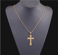 18k Goldkette mit Kreuz Anhänger vergoldet Kirche Herrenkette Damen Frauen G29