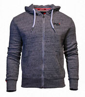 Superdry Mens New Orange Label Long Sleeved Full Zip Hoody Grey