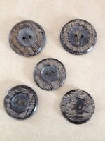 Lot of 5 Vintage Brown Antler Bone Textured Two Hole Buttons 3cm 2.5cm