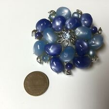 Huge Vintage Signed Coro Blue Lucite Brooch Pin