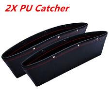 Universal 2pcs PU Leather Catch Catcher Box Caddy Car Seat Slit Pocket Storages