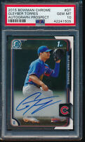 PSA 10 GLEYBER TORRES AUTO 2015 BOWMAN CHROME PROSPECTS AUTOGRAPH RC GEM MINT