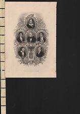 C1830 stampa Georgiano ~ Southey Byron Scott Coleridge Keats Montgomery