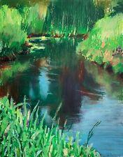 Garden Pond, oil pastel painting, plein air landscape, impressionist art