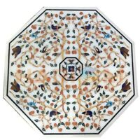 "24"" White Marble Coffee Table Top Semi Precious Mosaic Inlay Living Decors W370"
