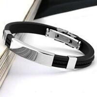 Men Women New Stainless Steel Rubber Wristband Bangle Clasp Cuff Bracelet