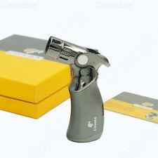 COHIBA Black Gun Metal 4 TORCH JET FLAME CIGAR CIGARETTE LIGHTER Gift Box