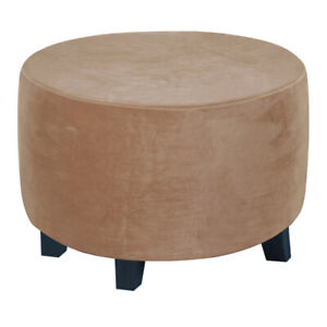 Velvet Round Ottoman Cover Stretch Slipcovers Removable Footstool Protector NEW