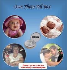 YOUR PHOTO PRINTED ONTO TOP OF 3 SECTION SILVER/CHROME TONE PILL BOX