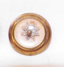 2 Antique Peach Wool Glass & Brass Buttons Compass Design Victorian Collectors