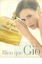 """PUBLICITE ADVERTISING 1994   ARMANI parfum """" rien que GIO"""" pour ELLE"""