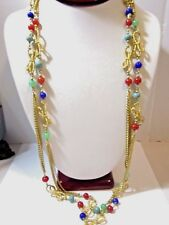 """LONG NECKLACE FANCY TEXTURED BOWS GOLD TONE CHAIN GEMSTONE BEADS 63"""""""