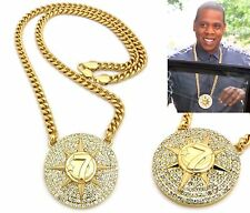 MENS HIPHOP ICED OUT JAY Z STYLE 5 PERCENTER 7 STAR PENDANT CUBAN CHAIN NECKLACE