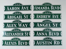 Your Name Personalized Street Sign Green Usa Childs Room Man Cave Decor