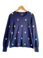 J.CREW Women's Large Navy Blue Star Print EVERYDAY CASHMERE Sweater