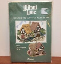 Vtg Anchor 14 counted Aida cross stitch kit Lilliput Lane LL04 Waterside Mill