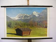 Mural Beautiful Old Karwendelgebirge Mittenwald Germany 72x51 Vintage~1960