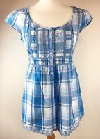 Blue Check Fat Face Frill Top Blouse 100% Cotton Summer Nautical Size 14