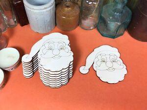 WOODEN SANTA FATHER CHRISTMAS Shape 8cm ENGRAVED (x10) wood decoration shapes