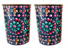 Set of 2 Pure Copper Ancient Glass Tumblers Hand Painting work Outer Side Blue +
