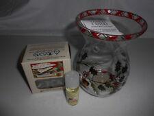 NEW~Yankee Candle~HOLLY & PINECONE GLASS OIL/TART/WAX BURNER/WARMER SET~NWT