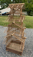 "Vintage Bamboo BIRD CAGE Chinese Asian Pagoda Wood Cage, 38"" Tall"